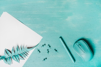 Turquoise colored pen; mouse; fern leaves and push pins on wooden surface