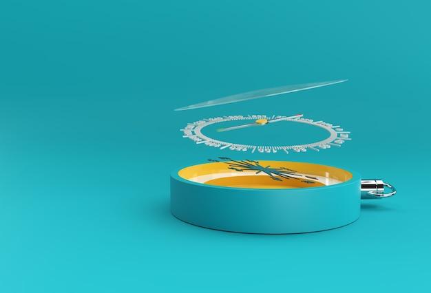 ターコイズコンパスの3dレンダリングのイラスト。