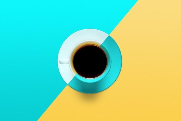 Бирюзовая чашка кофе на фоне бирюзового и желтого цвета