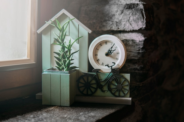 Turquoise decor element with clock