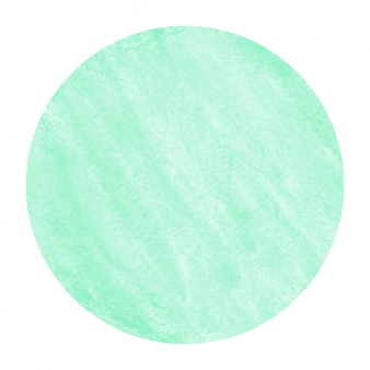 ターコイズブルーの手描きの水彩円形フレーム背景テクスチャの汚れ