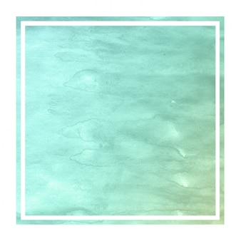 Turquoise hand drawn watercolor rectangular frame background texture with stains