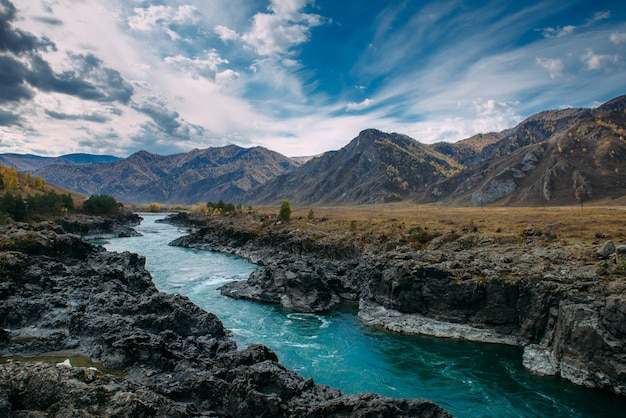 Turquoise katun river in gorge is surrounded by high mountains under majestic autumn sky. a stormy mountain stream runs among rocks - landscape of the altai mountains, beautiful places of the planet.