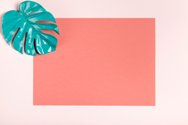 Turquoise leaf on pink background mock-up