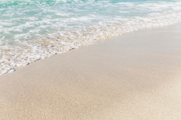Turquoise sea with foamy waves on a sandy beach. tourism and travel. space for text.