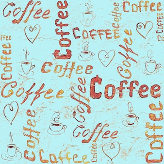 Turquoise seamless coffee pattern with lettering, hearts and coffee cups