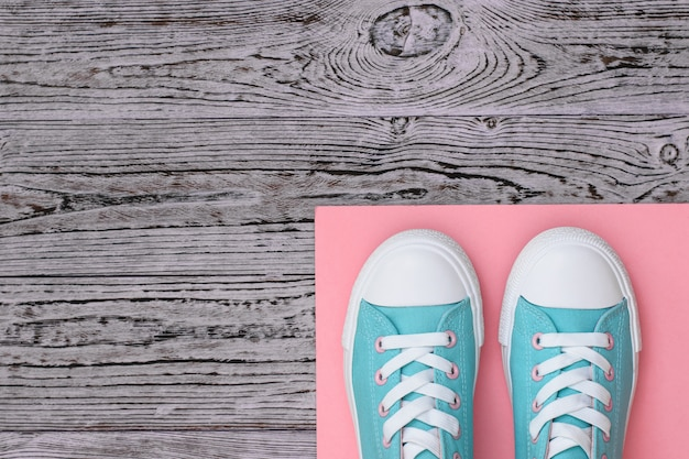 Turquoise sneakers on a pink rug on a wooden floor.