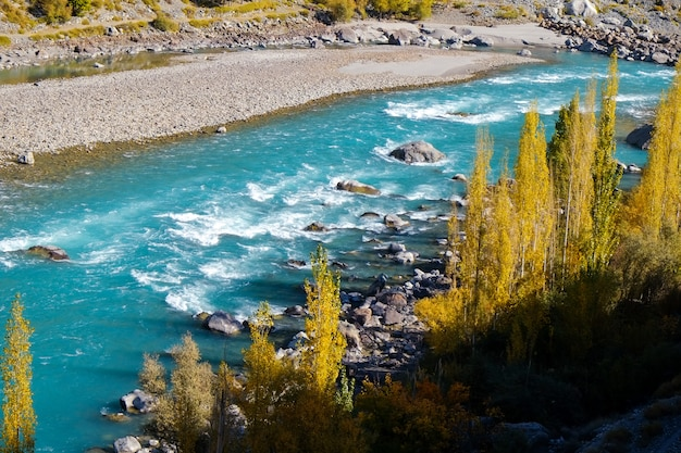 Turquoise water flowing along the gilgit river in gupis, pakistan.