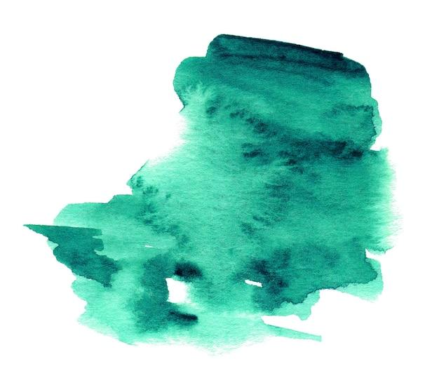 白で隔離されるターコイズの水彩画の形