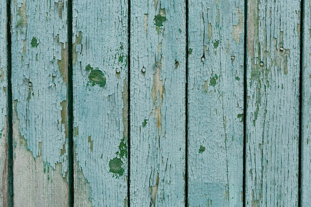 Turquoise wood texture background, top view wooden board.