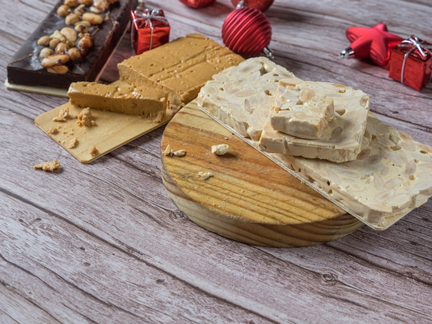 Turron on a rustic christmas table