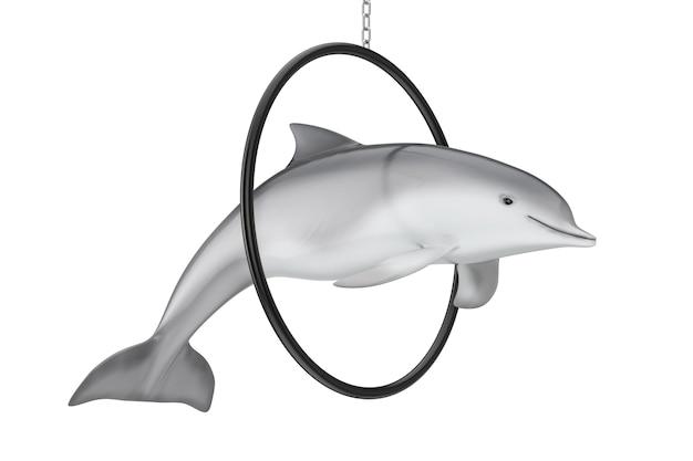 Tursiops truncatus ocean or sea bottlenose dolphin jump through ring on a white background. 3d rendering
