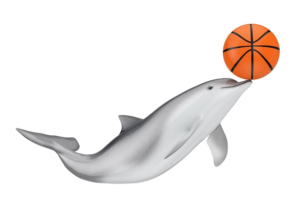 Tursiops truncatus ocean or sea bottlenose dolphin with basketball ball on a white background. 3d rendering