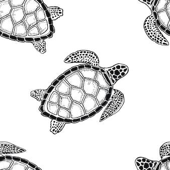 ウミガメの海の落書きスケッチシルエット手描きプリントテキスタイルグラフィックス熱帯の子供のための塗り絵