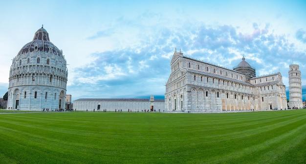 Tuscany,italy - october 24 ,2016:pisa panoramic photograph where is call piazza del duomo landmark in tuscany.tower panorama photography picuture.