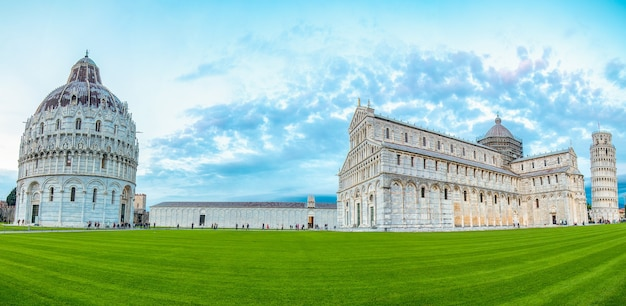 Tuscany,italy - october 24 ,2016:pisa panoramic photograph whter is call piazza del duomo landmark in tuscany.tower panorama photography picutre.
