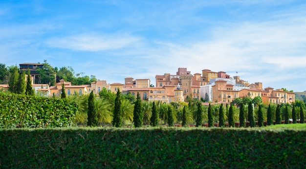 Tuscany town style decorate with a lot trees on beautiful sky