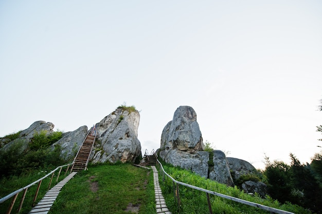 Tustan fortress ruins of rocks at carpathian ukraine