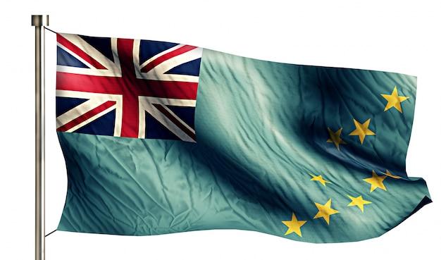 투발루 국기 절연 3d 흰색 배경