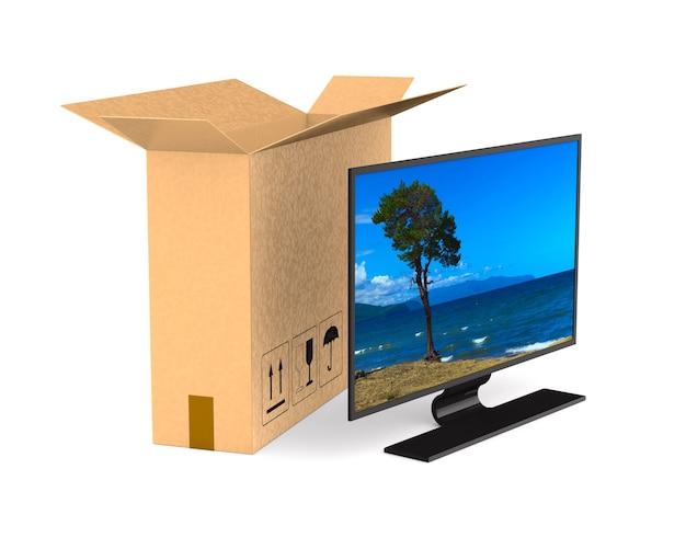 白い表面のテレビとカーゴボックスは分離されました
