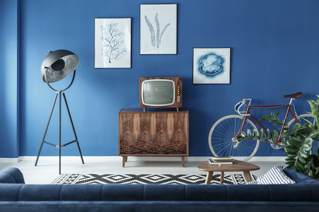Tv, bike and lamp in living room