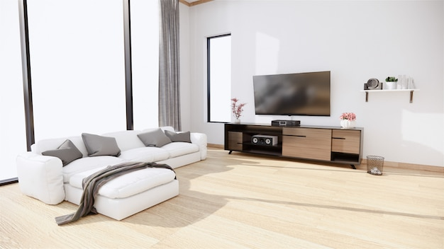 Тумба под телевизор и кресло в японском стиле по комнате рёкан в минималистском дизайне. 3d рендеринг