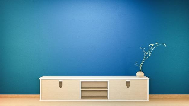 テレビのキャビネットと暗い青色のリビングルームと黒の背景の日本のインテリアを表示します。 3dレンダリング