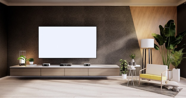 Tv cabinet ,armchair on wood flooring and black and wooden wall design, minimalist living interior.3d rendering