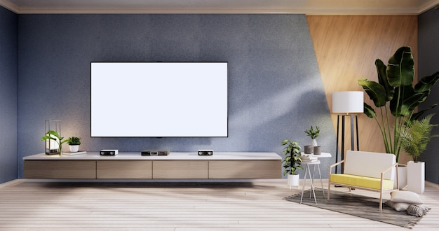 Tv cabinet ,armchair on wood flooring and blue and wooden wall design, minimalist living interior.3d rendering