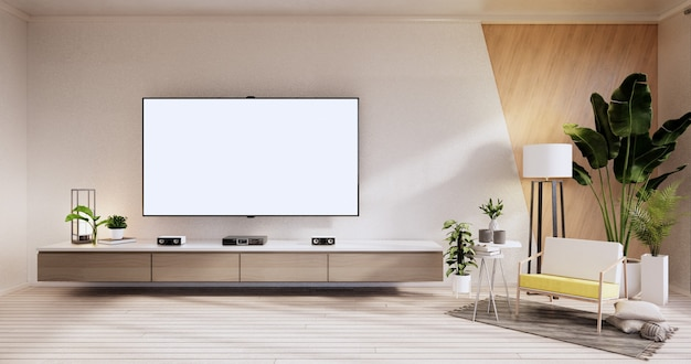 Tv cabinet ,armchair on wood flooring and white and wooden wall design, minimalist living interior.3d rendering