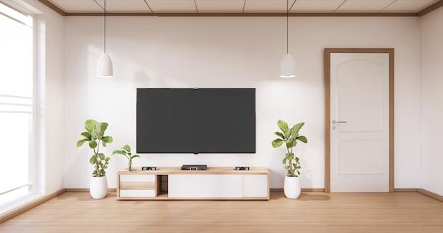 현대적인 방 흰색 바닥 미니멀리스트와 tv 캐비닛 디스플레이
