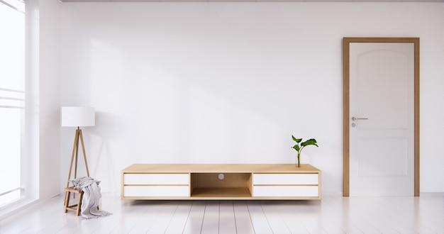 흰색 방 흰색 바닥 미니멀리스트와 tv 캐비닛 디스플레이