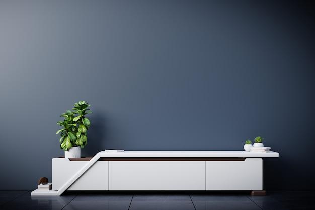 Шкаф под телевизор в современной пустой комнате, темная стена, 3d-рендеринг