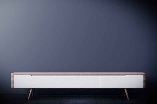 현대 빈 방, 어두운 벽, 3d 렌더링에 Tv 캐비닛 프리미엄 사진