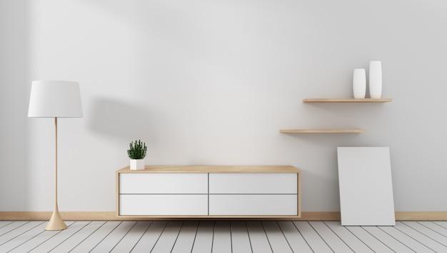 Тумба под телевизор в современной пустой комнате в японском стиле дзен, минималистичный дизайн. 3d рендеринг
