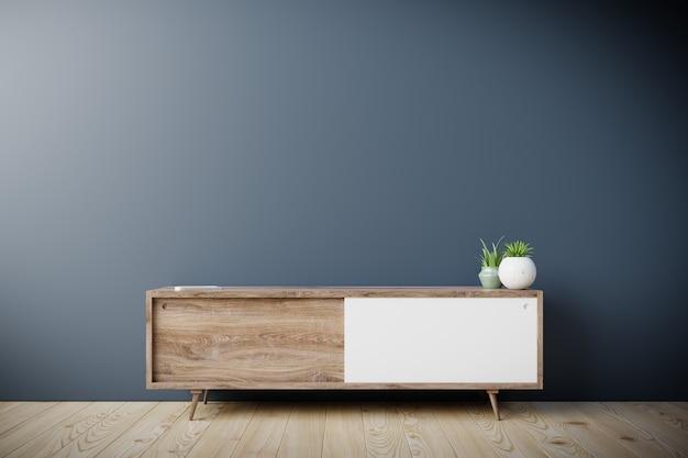 Шкаф под телевизор в современной пустой комнате с черной стеной, 3d-рендеринг