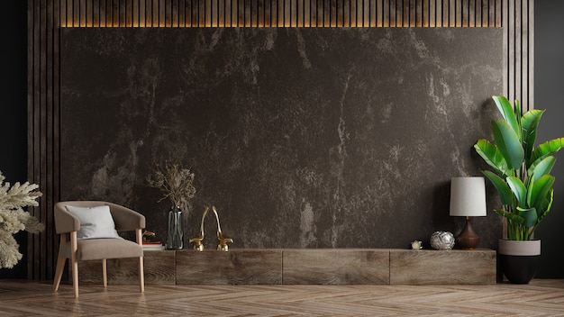 Шкаф для телевизора в современной гостиной с креслом и растением на темной мраморной стене, 3d-рендеринг