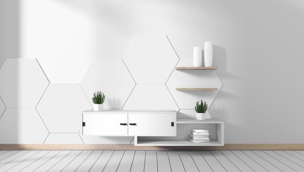 部屋の白い六角形のタイルのテレビキャビネット最小限のデザイン、禅スタイル。 3dレンダリング