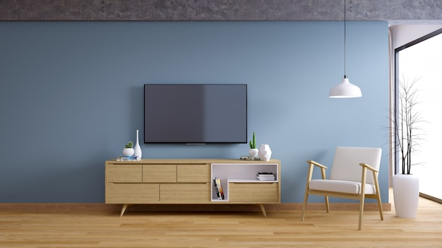 Tv cabinet, interior vintage room design and cozy living style