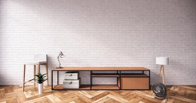 Tv cabinet in loft interior white brick wall