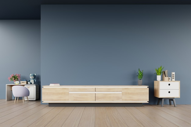 Tv cabinet in modern empty room and children's room on dark wall