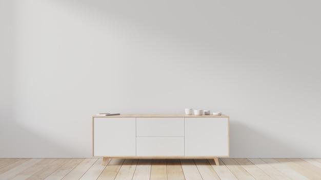 Tv cabinet in modern empty room