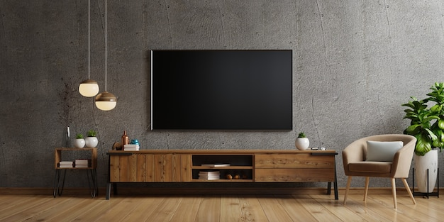 Tv on cabinet the in modern living room the concrete wall,3d rendering