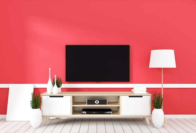 Tv on cabinet in modern living room with lamp,plant on red wall background