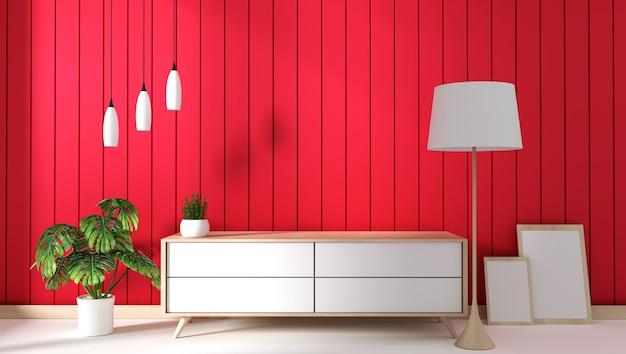 Tv cabinet in red modern room,minimal designs, zen style. 3d rendering