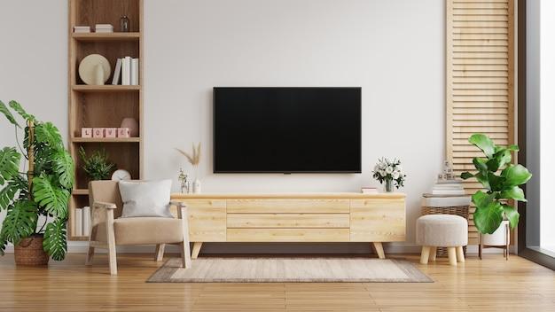 Mobile tv sulla parete bianca in soggiorno con poltrona, design minimale, rendering 3d