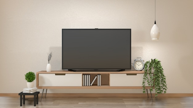 Tv on cabinet in zen living room with lamp, table, cabinet and plant .3d rendering