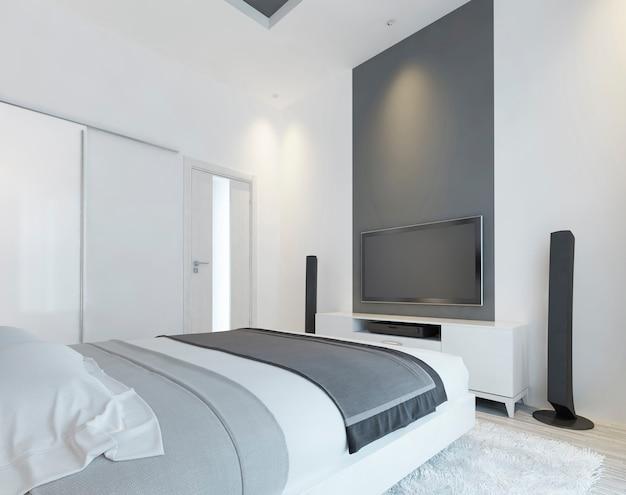 흰색과 회색의 현대적인 침실에 스피커가있는 tv 콘솔. 슬라이딩 옷장과 벽에 미디어 시스템이있는 현대적인 침실입니다. 3d 렌더링