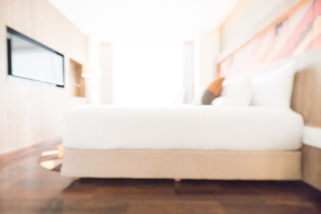 Tv and double bed unfocused