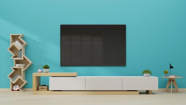 モダンな空の部屋の青い壁のテレビ。